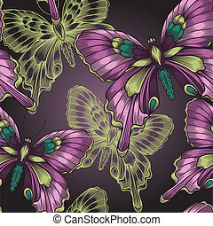 Bright seamless pattern with decorative butterflies