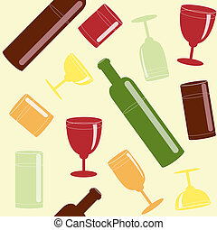 Bright seamless pattern with drinks