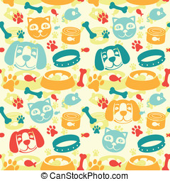 bright seamless pattern with funny