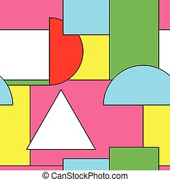 Bright seamless pattern with geometric shapes. Colorful design - memphis style 80-90s.