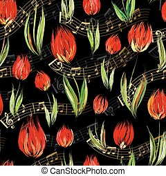 Bright seamless pattern with oil painted red tulip flowers end gold notes on black background.