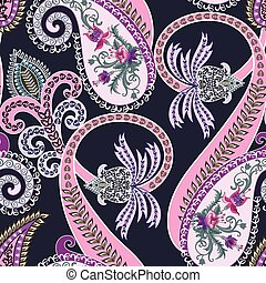 bright seamless pattern  with  pink  swirls and light lilac  paisley, decorated flowers fuchsias