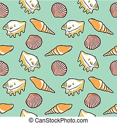 Bright seamless pattern with shells
