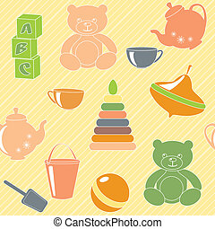 Bright seamless pattern with toys