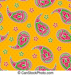 Bright seamless with paisley pattern.
