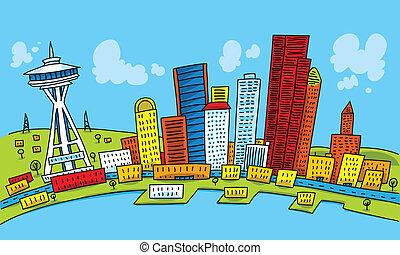 Bright cartoon of the city of Seattle, Washington, USA.