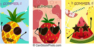 artoon fruits - watermelon, pineapple, strawberry on a colored background.