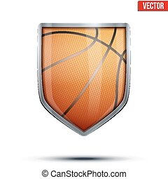 Bright shield in the basketball ball inside. Vector.