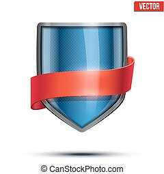 Bright shield with ribbon.