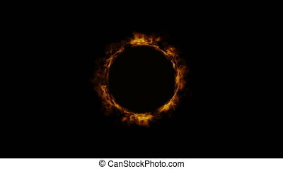 Bright shimmering ring of fire. Fire portal. Black ...