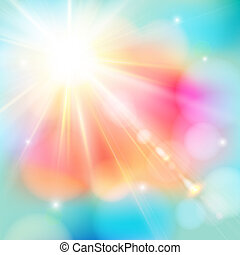 Bright shining sun with lens flare. Soft background with...