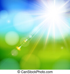 Bright shining sun with lens flare. Soft background with ...
