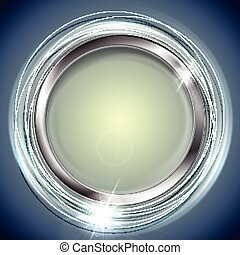 Bright shiny background with metal circle frame