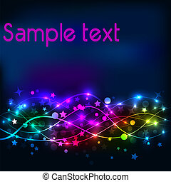 bright shiny neon background with stars and lines