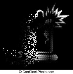 Bright Shredded Dotted Halftone Condom Sperm Damage Icon - ...