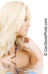 sideview - bright sideview picture of lovely blonde in water