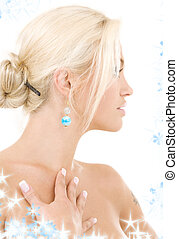 sideview - bright sideview picture of lovely blonde with ...