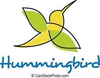 Bright silhouette of flying hummingbird - Hummingbird...