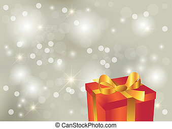 Bright silver background with gift