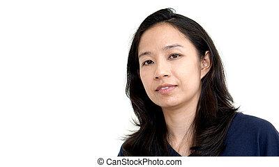 Bright smile Asian woman on white background