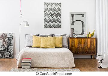 Bright snug bedroom interior - Horizontal view of bright ...