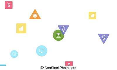 Bright social communication icons video animation