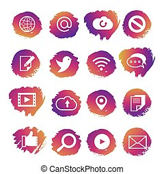 Bright social media and network vector icons set