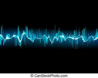 Bright sound wave on a dark blue. EPS 10