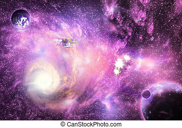 Bright space galaxy - Illustration of deep space bright...