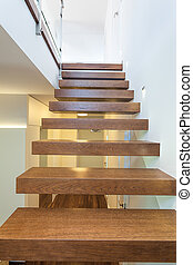 Bright space - wooden stairs