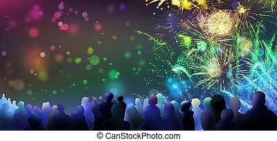bright sparkling fireworks and illustrated spectator silhouettes