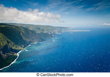 Bright sparkling waters along Molokai island coast