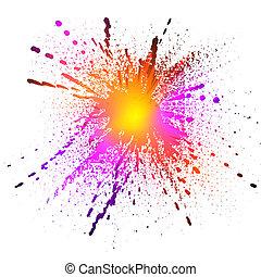 Bright splash - Brightly colored ink splash on white ...