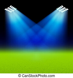 Bright spotlights illuminated green soccer field ...
