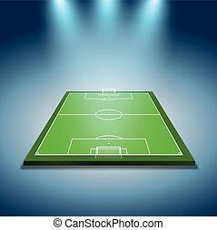 spotlights illuminated soccer field