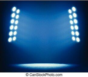 Bright spotlights on dark blue background