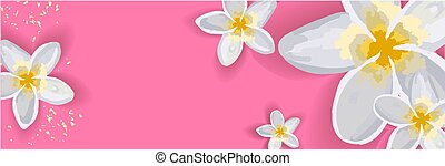 Bright spring background for an inscription. The flowers are white. Lily. Horizontal banner without text..