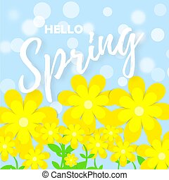Bright spring background with paper flowers. Isolated vector design element with lettering ? Hello Spring. Vector illustration. Vector