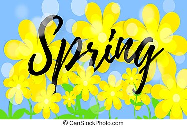 Bright spring background with paper flowers. Lettering spring season with leaf for greeting card, invitation template. Vector illustration. Vector