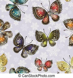 Bright spring butterflies swirl in a snowy whirlwind