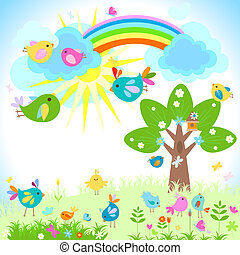 spring - bright spring with rainbow