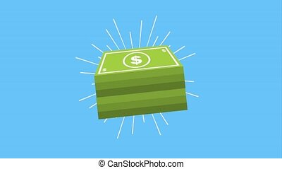 bright stack money dollar banknote animation hd