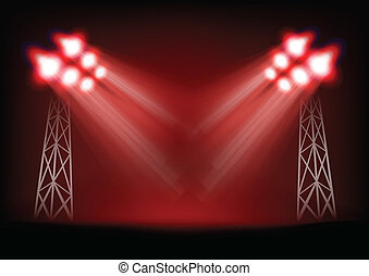 Bright stage with light masts