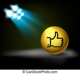 "Bright stage with ""Like"" symbol"