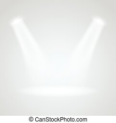 Bright stage with projectors. light effect vector illustration