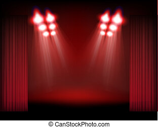 Bright stage with spot lights, smoke and curtains. Template ...