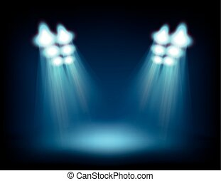 Bright stage with spot lights. Template for a content