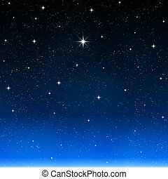 bright star - a single bright wishing star stands out from...
