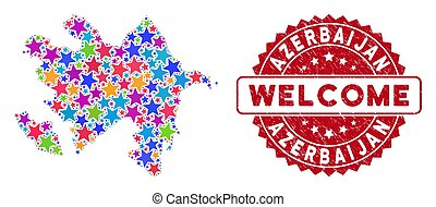 Bright Star Azerbaijan Map Composition and Textured Welcome Stamp Seal