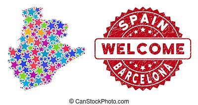 Bright Star Barcelona Province Map Composition and Scratched Welcome Seal